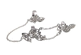 Fashion Personality Bracelet Jewelry Finger Rings And Chains, Silver Flower image 2