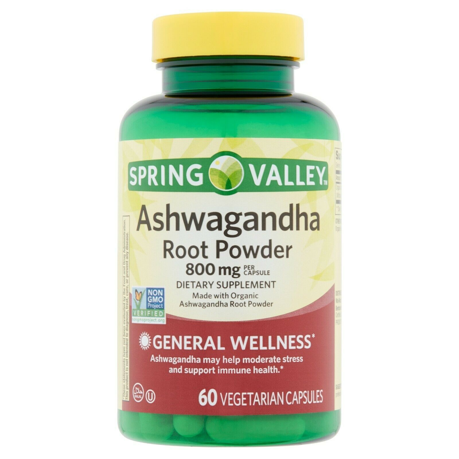Spring Valley Ashwagandha Root Powder Vegetarian Capsules, 800 mg, 60 count. - $16.82