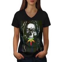Skull Marley Weed Rasta Shirt Music Skull Women V-Neck T-shirt - $12.99+
