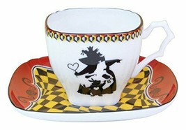 Disney Alice in Wonderland Demitas Cafe cup & saucer set The Queen of He... - $93.84