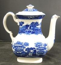 Spode Coffee Pot Blue Tower Pattern * Blue Oval Backstamp - $94.99