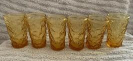 6 Vintage Anchor Hocking Amber Honey Gold Lido Milano Glasses Juice Glas... - $24.99