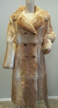 Vtg 60's Boho Hippy Golden Brown Rabbit Animal Fur Coat Jacket - $270.74
