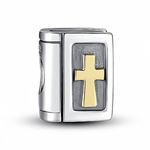 925 Sterling Silver Bible Charm Cross Charm Christian Charm Keep Faith C... - $58.86
