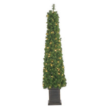 Small 4' Foot Potted Tower Lighted Christmas Holiday Skinny Tree with Bl... - $89.09
