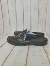 Coach Womens Slip On Round Toe Logo Buckle Loafers Black Leather Size 6 B - $28.71