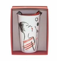 Starbucks Bubbles Girl Watercolor Ceramic Tumbler Traveler Mug 12oz DOT Red - $51.97