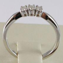 White Gold Ring 750 18k, Trilogy 3 TOTAL CARAT DIAMONDS 0.12 Square Shank image 4