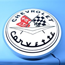 "Chevrolet Corvette LIGHT UP 15"" new Vette sign  200+ lighted clocks signs avail - $139.99"