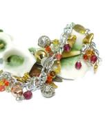 Gold Silver Heart Charms Swarovski Crystal Silver Chain Bracelet - $29.00