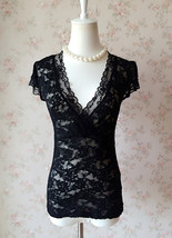 Sexy Black lace tops Deep V Black Lace Topper Plus Size Black Lace Tops
