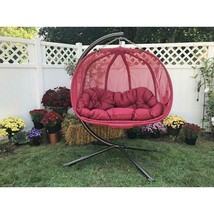 Double Hanging Egg Chair with Stand and Cushion 2 Person Outdoor Swing Seat - $494.99