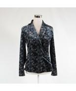 Navy blue beige floral print CAROLINA BELLE long sleeve blazer jacket XS - $54.99
