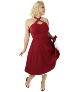 Cute Rockabilly 50s Retro Red Criss Cross Halter Swing Dress Vintage Pin Up - $75.68