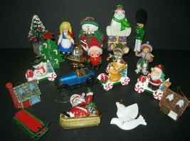 Vintage Mixed Lot Christmas Ornaments Santa Trees Soldier Bear Cottages ... - $13.98