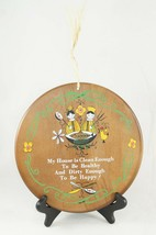 Vintage Wood Wall Plaque Hand Made 1960's My House is Clean Enough to be... - $14.03