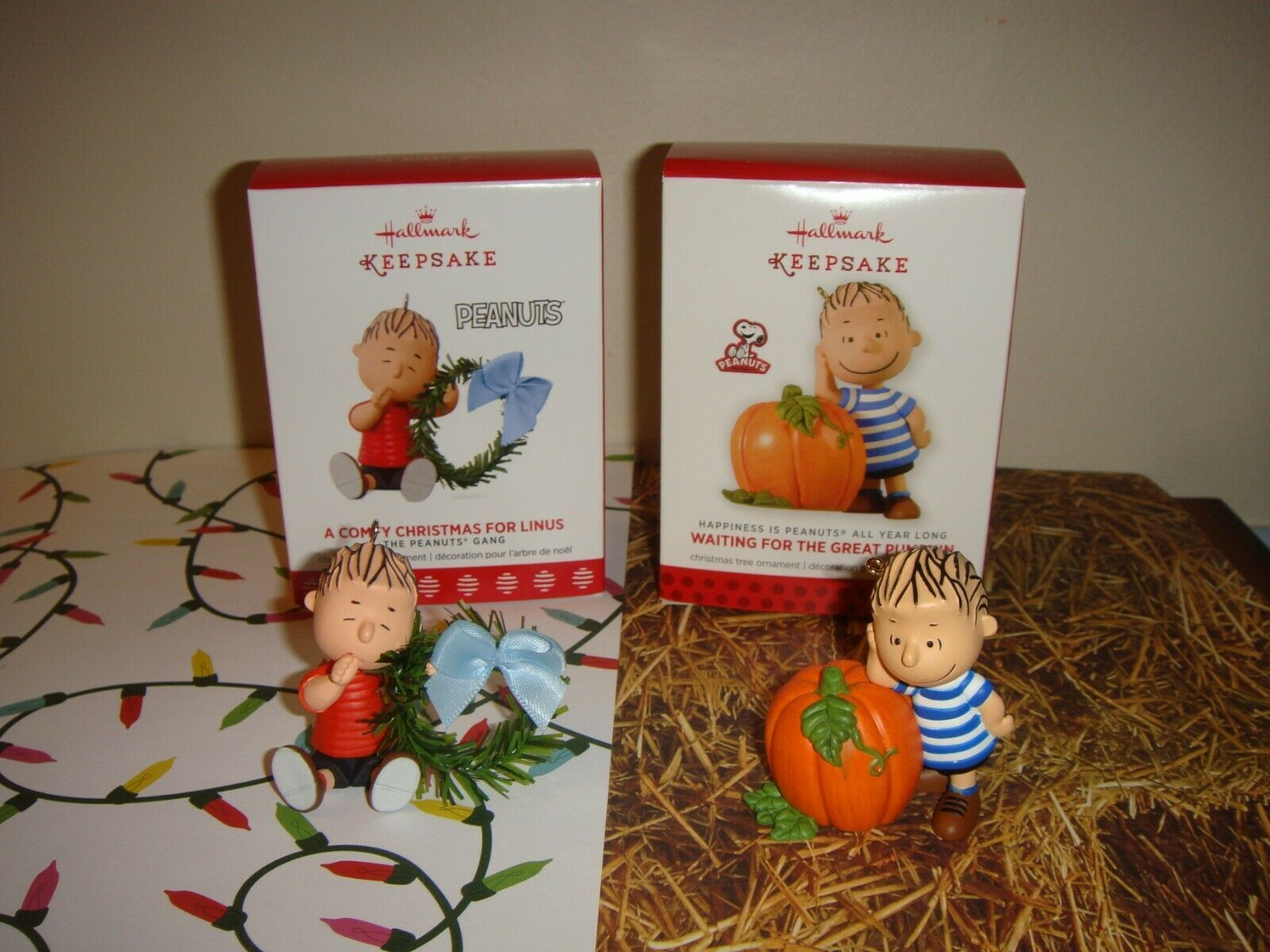 Primary image for Hallmark 2017 A Comfy Christmas For Linus & 2013 Waiting Great Pumpkin Ornament