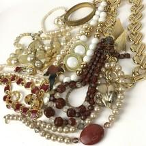 Vtg Costume Jewelry Lot Boho MOD Mixed Materials 20+ pcs Earth Tones Gol... - $29.69