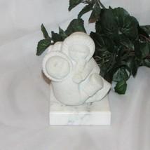 MARBEL STONE ART FIGURINE CHILDREN WINTER BELGIUM SCULPTURE STATUE CARVI... - $14.45