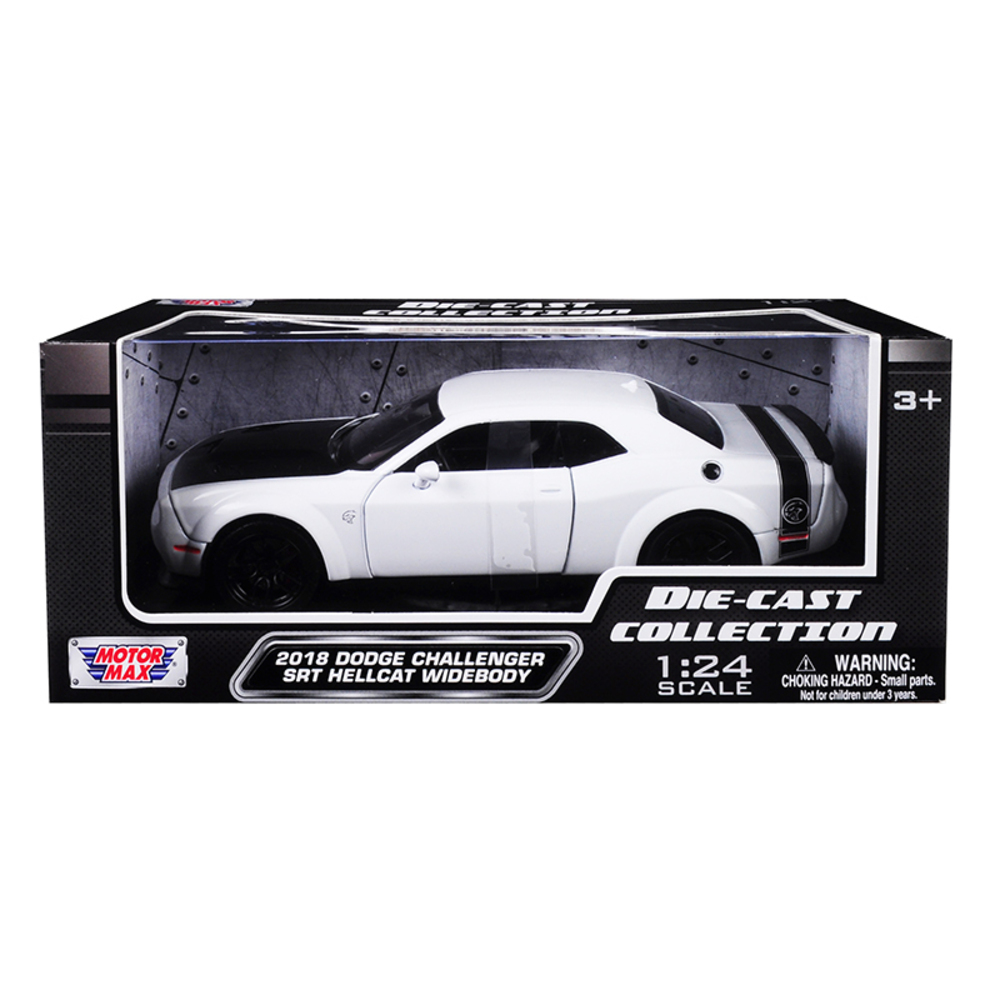 2018 Dodge Challenger SRT Hellcat Widebody White with Black Hood 1/24 Diecast Mo