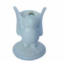 Owl figurine vtg sculpture Westmoreland milk glass candle holder candleh... - $39.55