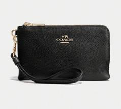 COACH Double Corner Zip Wristlet in Pebble Leather in Black - $59.39