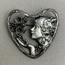Art Nouveau Style Lady Heart Brooch Pin Flowers Floral Silver Tone Unsigned - $27.68