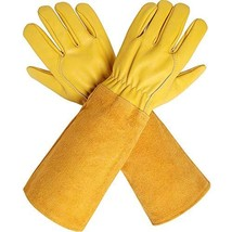 CCBETTER Rose Pruning Gloves with Extra Long Cowhide Sleeves for Men and... - £12.80 GBP