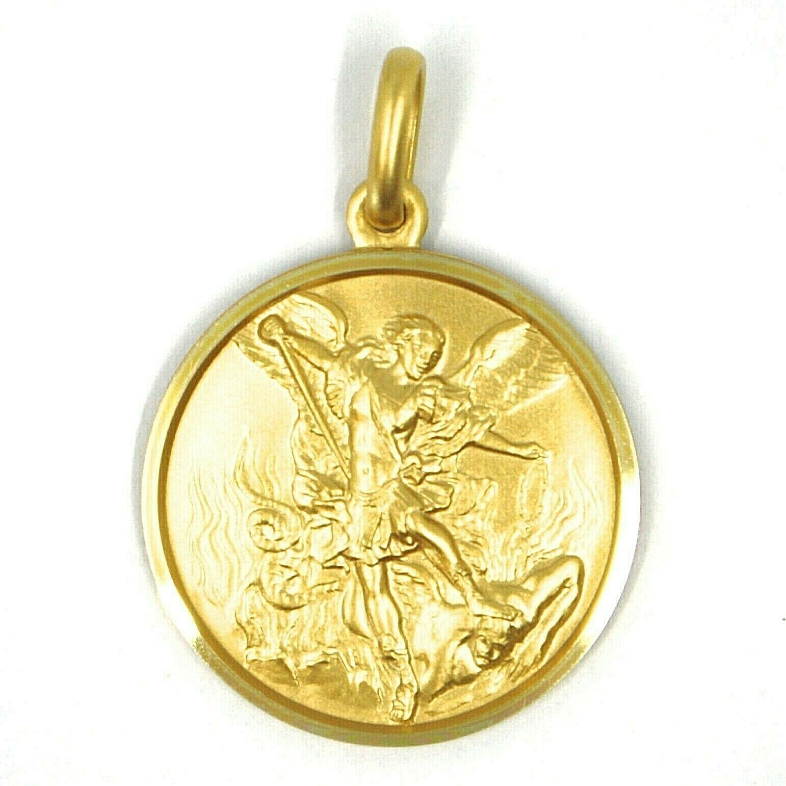SOLID 18K YELLOW GOLD SAINT MICHAEL ARCHANGEL 21 MM MEDAL, PENDANT MADE IN ITALY