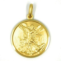 SOLID 18K YELLOW GOLD SAINT MICHAEL ARCHANGEL 21 MM MEDAL, PENDANT MADE IN ITALY image 1