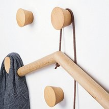 2Pcs Natural Wooden Coat Hooks, Wall Mounted Single Cone Wall Hook Rack, Decorat image 9