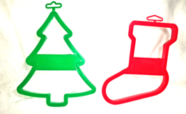 Wilton 1992 & 1993 Lg Christmas Cookie Cutters-Tree-Stocking--Hong Kong - $9.00