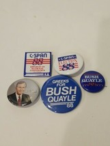 Lot of 5 pinback Republican party President C-span campaigning Bush Quayle  - $19.11