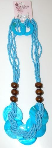 Madison Avenue Natural Blue Shell Necklace Earring Set Lobster Claw Clasp