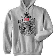 KEEP CALM & FEED CAT 2 P  - NEW COTTON GREY HOODIE - $39.80