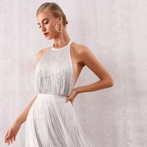 New Summer Sexy Celebrity Style White Mini Halter Fringe Club Dress