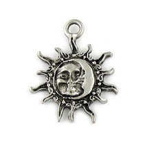 SUN AND CRESCENT MOON FINE PEWTER PENDANT CHARM  - 34mm x 27mm x 4mm
