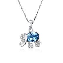 925 Sterling Silver Rhodium Plated Elephant w CZ & Synthetic Blue Opal N... - $19.59