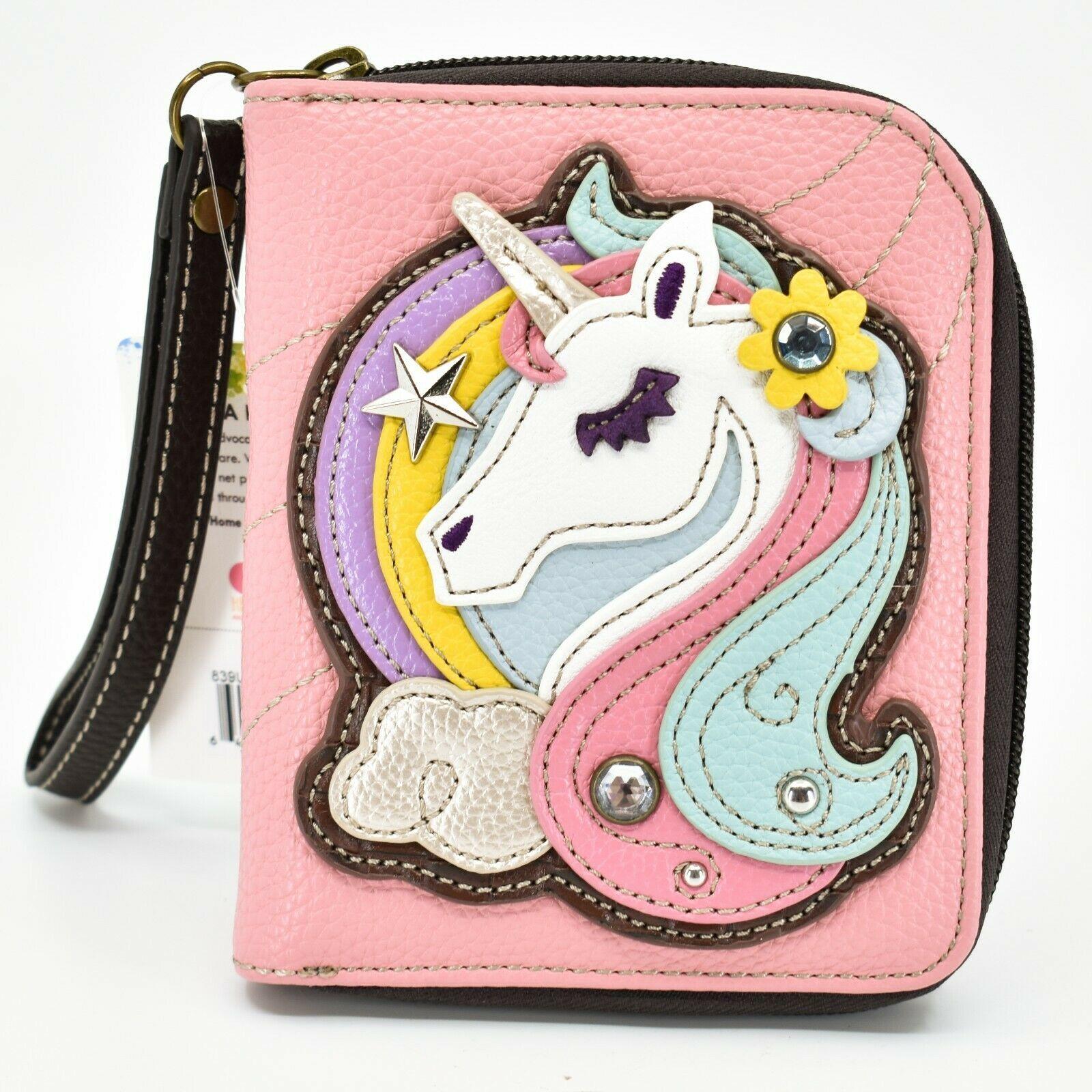 Chala Handbags Faux Leather Whimsical Unicorn Pink Zip Around Wristlet Wallet