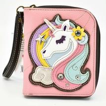 Chala Handbags Faux Leather Whimsical Unicorn Pink Zip Around Wristlet Wallet image 1