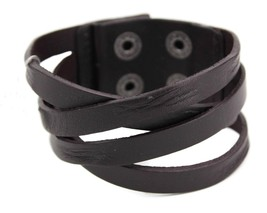 GUESS MEN'S LEATHER BRAIDED CUFF WRISTBAND BRACELET CROSS ROAD 102252 BLACK - $9.99