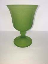"""Vintage Harvest Green Frosted by Colony Water Goblet Depression Glass 5 1/4"""" - $6.25"""