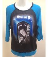 Doctor Who S Top 11th Doctor Tardis Black Blue Raglan 3/4 Sleeve T Shirt - $21.54