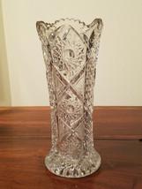 "Stunning Brilliant Cut Glass Hobstar/Pinwheel Vase 9 3/4"" x 4 1/4""  - $49.45"