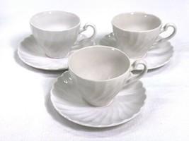 Vtg Johnson Brothers Ironstone Cup Saucer Set of 3 Regency White Swirl Crazing  - $15.67