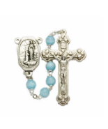 LIGHT BLUE BEADS OUR LADY OF LOURDES WITH HOLY WATER CENTER CROSS CRUCIFIX - $37.99
