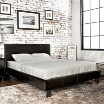 Twin Full Queen Dark Espresso Upholstered Platform Bed Frame Faux Leathe... - $273.14+