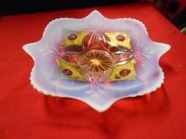 """Magnificent .Antique GOOFUS GLASS  Opalescent """"Unique Shape""""  DISH / PLA... - $19.80"""