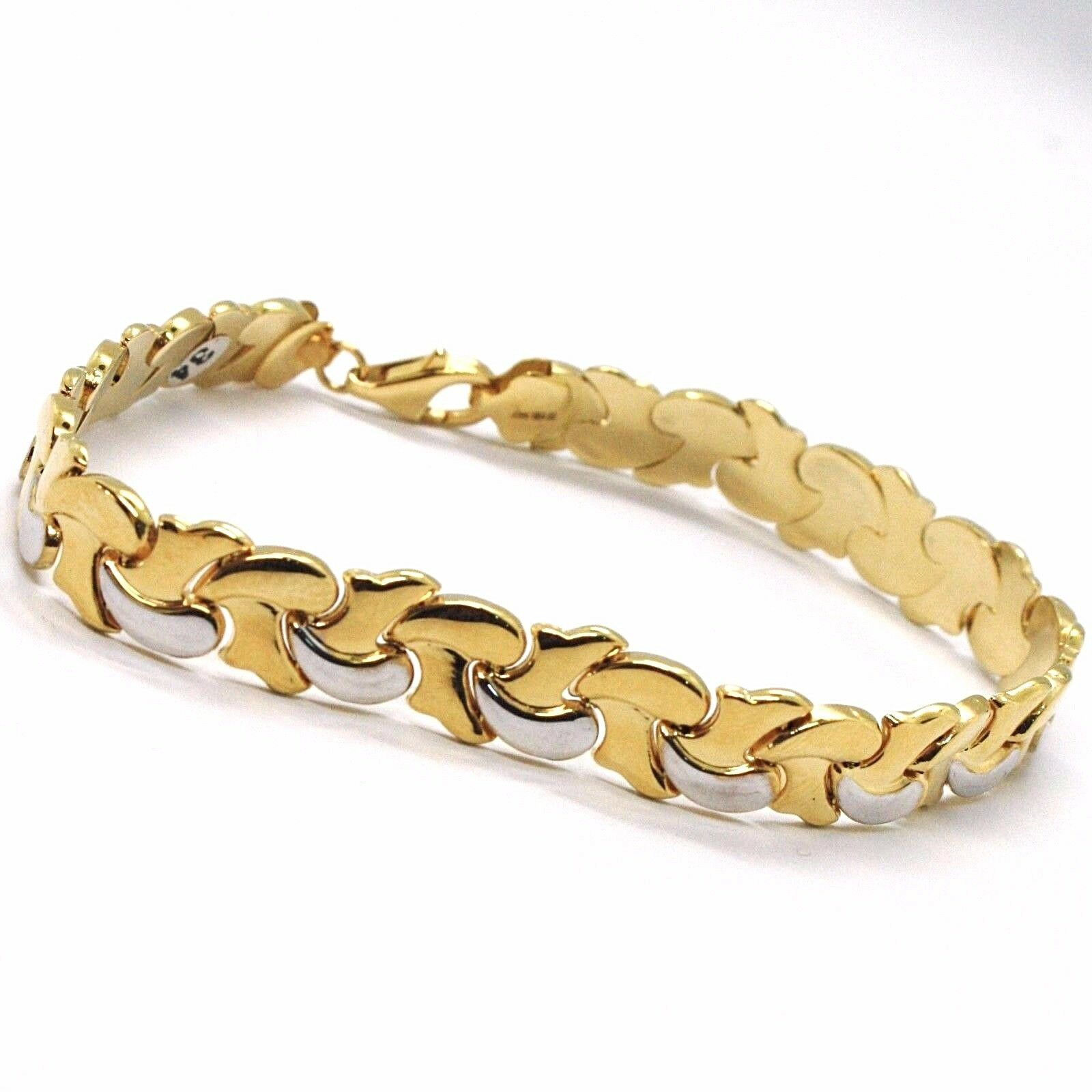 18K YELLOW, WHITE GOLD BRACELET ALTERNATE FLAT BRAID ONDULATE LINK MADE IN ITALY