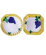Herend Village Pottery Vineyard Grape Serving Platter Set Shell Bowl Square Tray - $62.50